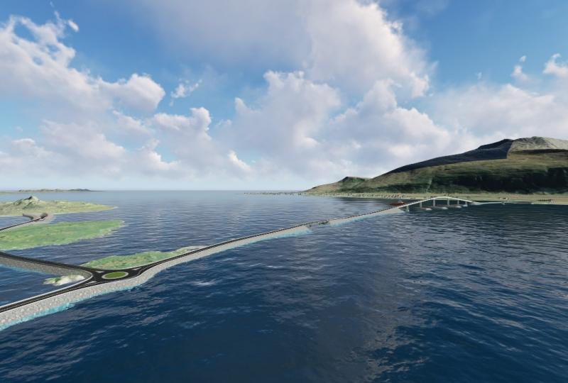 Bilde som viser rundkjøring og bru ute i havet