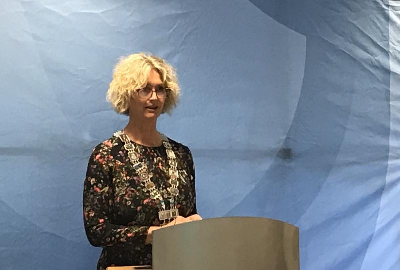 Foto av kvinne som står på ein talarstol